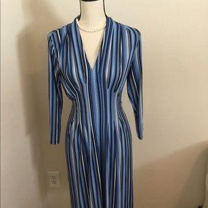 NWT Catherine Malandrino M Blue Striped Dress.